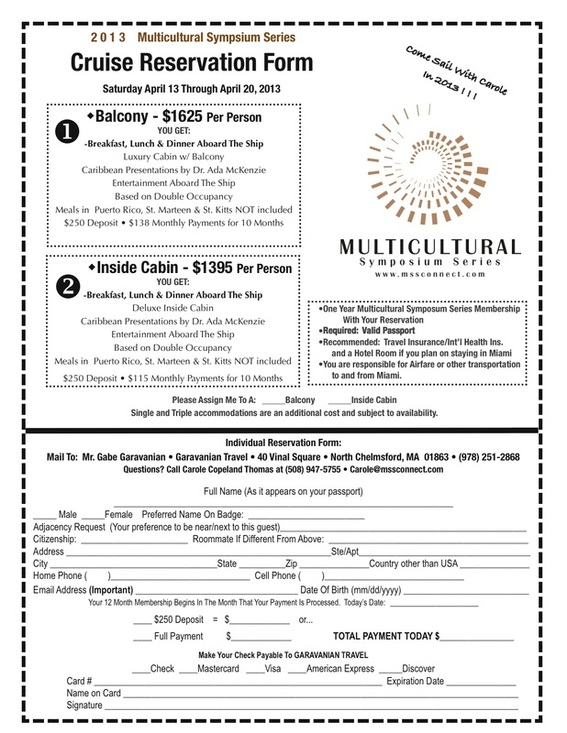 Cruise Reservation Form - Multicultural Symposium Series